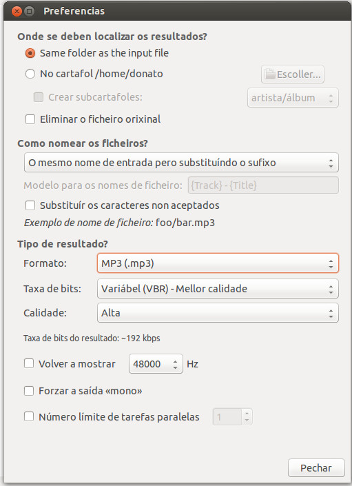 Preferencias Soundconverter