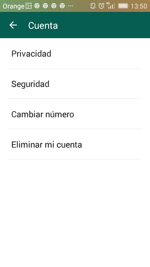 ajustes cuenta whatsapp