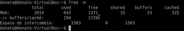 ejemplo comando free