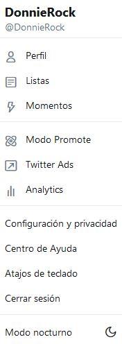 Twitter menú