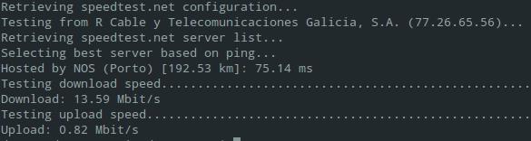 Teste de velocidad comandos